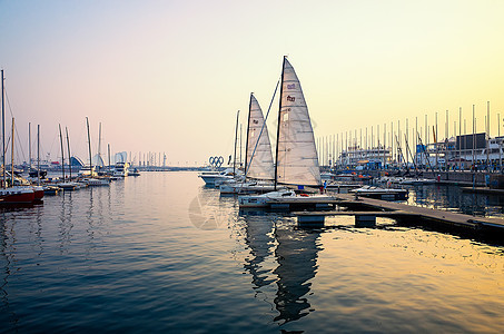 山东青岛奥帆中心帆船风光图片