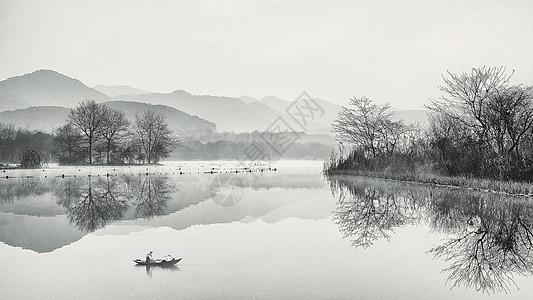 充满中国风的江南水乡雾气景色图片