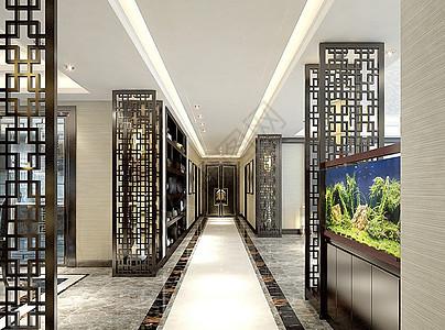 中式玄关室内设计效果图图片