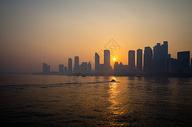 城市黄昏夕阳美景图片