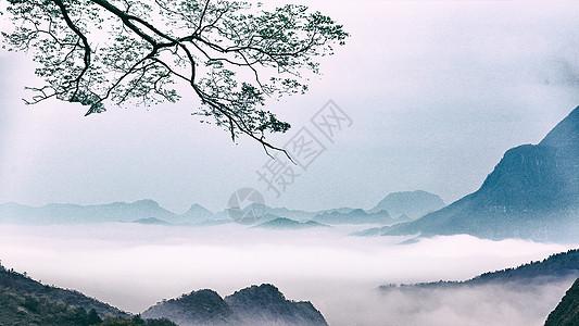 中国风水墨山水田园图片