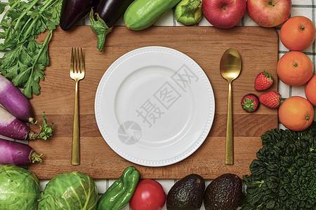 蔬菜组合与菜板餐盘素材图片