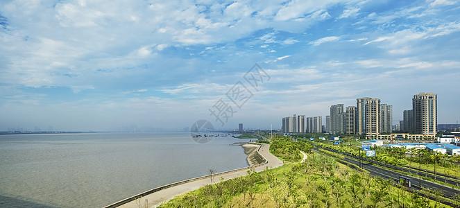 钱塘江与新城建筑图片