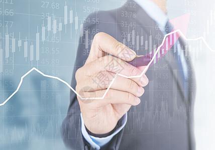 商人点击股市金融k线图图片