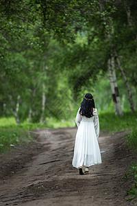 白桦林里穿着白裙女孩美丽的背影图片