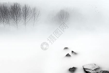 充满中国风韵味的水墨山水素材图片
