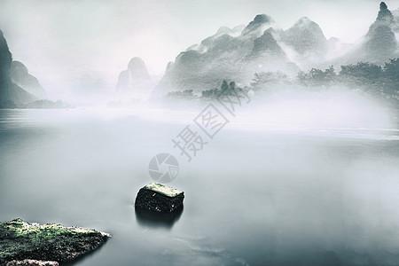 中国风水墨山水田园风景图片