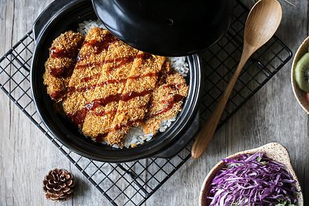 日式美食炸猪排饭图片