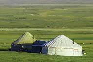 新疆赛里木湖草原毡房图片