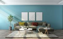 蓝色暖调室内设计图片
