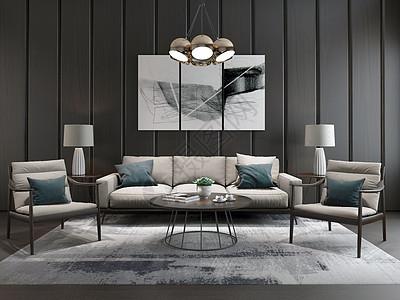 新中式客厅沙发效果图图片