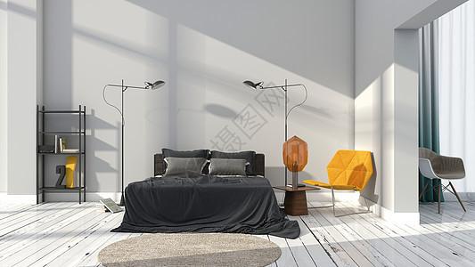 简约灰色系卧室室内家居背景图片