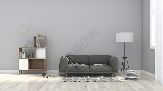简约灰色系北欧风室内家居背景图片