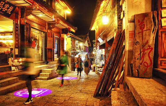 丽江古城夜景街道图片
