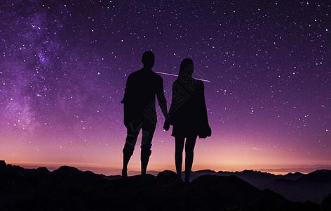 流星下牵手的情侣图片
