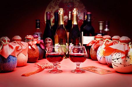 年味红酒白酒图片