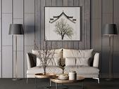 现代简约沙发茶几落地灯组合图片