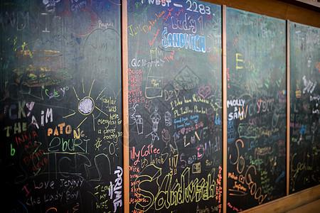 泰国青旅里的黑板报高清图片