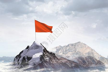 山顶红旗成功概念图片