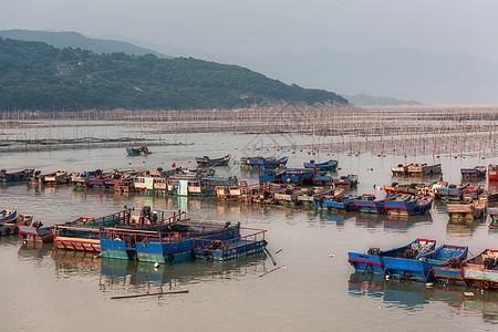 福建夕阳下的渔港图片