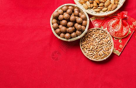 喜庆新年年货坚果干果食品图片