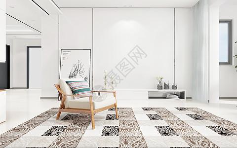 北欧米白色客厅家居图片