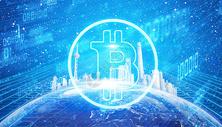 比特币科技蓝色背景图片