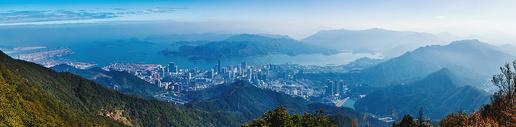 山脉城市港湾岛屿全景图片