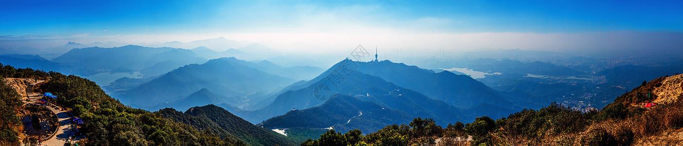 梧桐山及周边全景图片