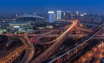 上海城市交通高架桥夜景风光图片