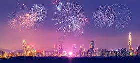 新年城市烟花背景图片