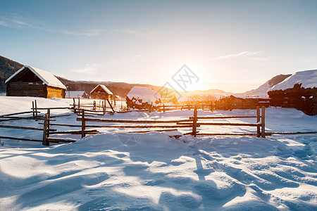 新疆禾木村冬季雪景图片
