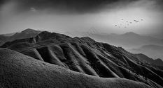 黑白意境山脉风光图图片
