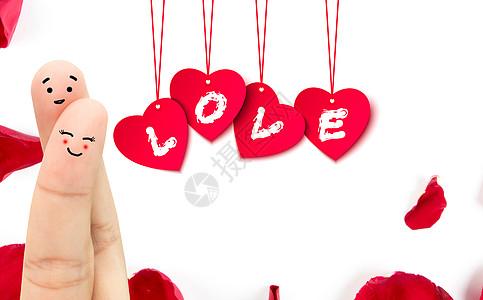 手指情侣的爱情卡片图片