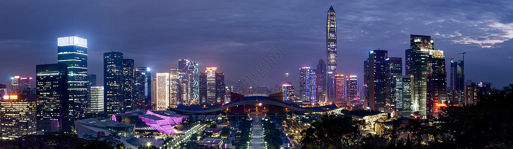 深圳福田区中轴线夜景全景图片