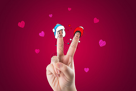 爱情手指画图片