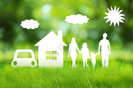 绿草上的家庭图片