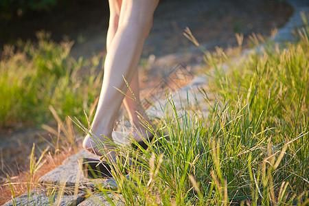 走在草丛里图片