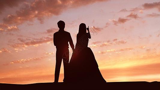 黄昏中的情侣图片