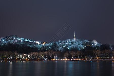 西湖北山路夜景图片