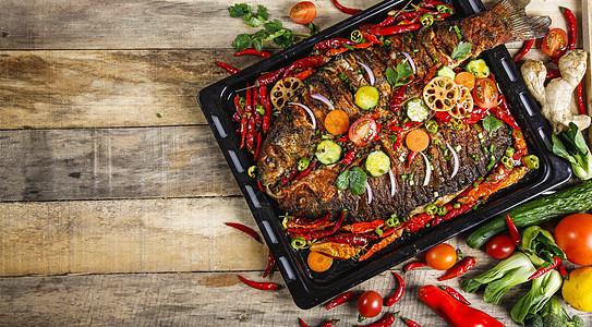 炭火烤鱼图片