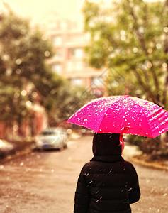 撑着雨伞在雪天中漫步的背影图片
