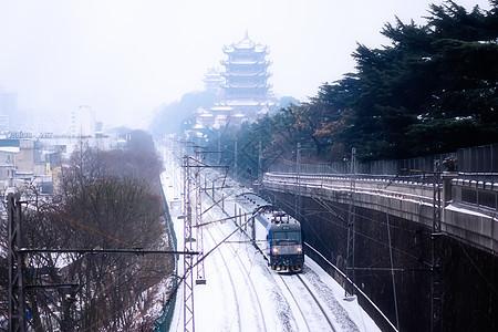 武汉黄鹤楼雪景图片