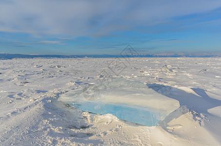 冬天湖面上的蓝色冰块图片