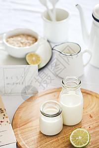 ins风牛奶燕麦早餐图图片