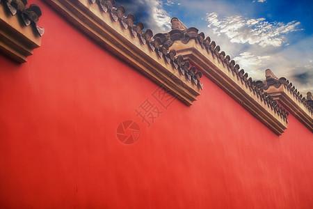 寺庙红色砖墙图片