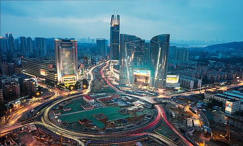 武汉城市夜景建设中的光谷转盘图片