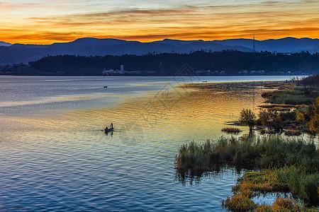 大理洱海日落美景图片