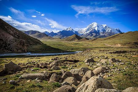 西藏高原蓝天白云与雪山图片