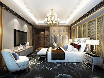 复古欧式卧室效果图高清图片